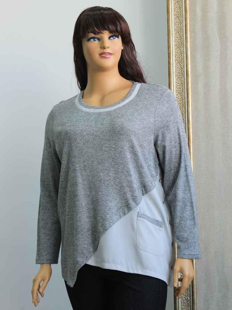 Блуза женская кашемировая комбинированная с шифоном большого размера.  Магазин «Пышная Дама», Харьков 568d7e786be