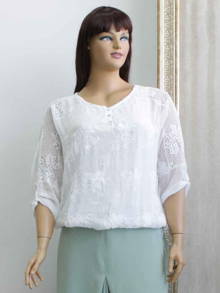 Блуза женская из батиста с кружевной отделкой большого размера. Магазин  «Пышная Дама», 15bbf0bd9eb