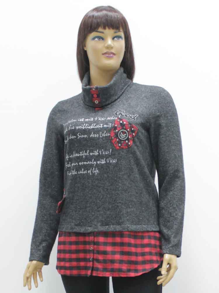 Блуза женская комбинированная с аппликацией и шарфом большого размера.  Магазин «Пышая Дама», 324f9a83216