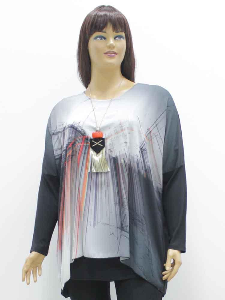 Блуза женская комбинированная с декоративным принтом и бижутерия в  комплекте большого размера. Магазин «Пышая 7df2fbcdec4